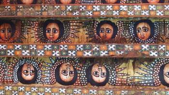 The ceiling of the Debre Birhan Selassie church in Gondar | Caroline Mongrain