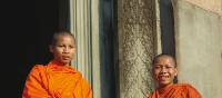 The saffron robed monks at Angkor Wat | Donna Lawrence
