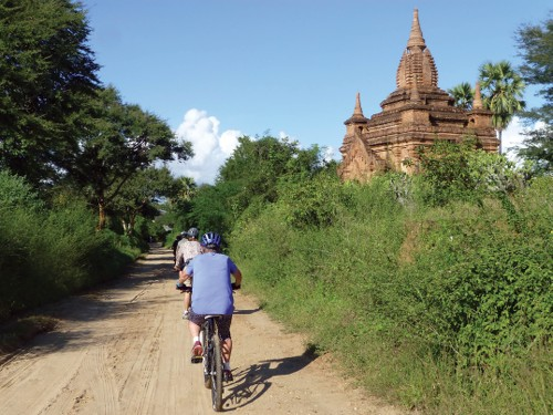 Cycling around the ancient temples in Bagan, Myanmar - <i>Photo: Caroline Mongrain</i>