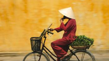 Cycling is a popular means of transport in Vietnam
