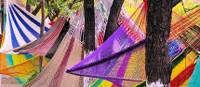 Colourful hammocks on display in the lively markets