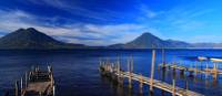 Piers extending into Lake Atitlan