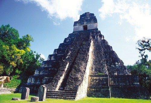 The temple of the Jaguar, one of many majestic ruins at Tikal, Guatemala