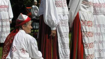 Estonian national costumes on Hiiumaa Island
