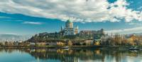 The city of Esztergom, nestled along the banks of the Danube River