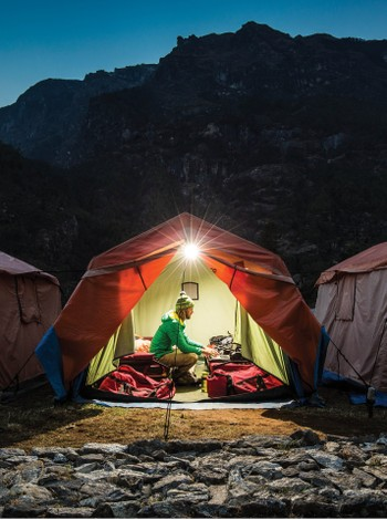 Sunrise at the Monjo campsite - <i>Photo: Mark Tipple</i>