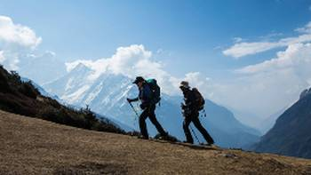 A steady incline on the trail above Namche Bazaar | Mark Tipple
