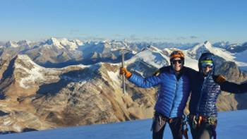 Bagging a peak atop The President, Canadian Rockies