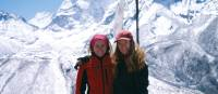 Trekkers posing in front of the awesome Himalayan landscape | Sally Imber