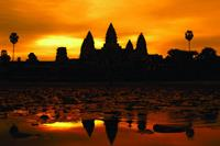 A golden sunrise over Angkor Wat at Siem Reap, Cambodia.