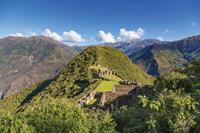 Panoramic view of the 'lost' Inca ruins of Choquequirao.