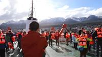 On deck at a cruise on an Antarctica trip