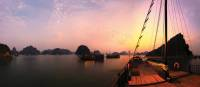 Breathtaking sunset from the boat deck at Halong Bay