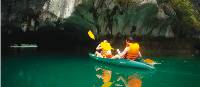 Entering the caves at Halong Bay, Vietnam