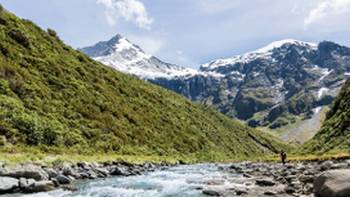 Exploring glacial rivers in Mt Aspiring National Park