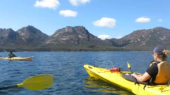 Kayaking in Coles Bay beneath the Hazards | Ashton Sayer