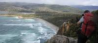 Looking towards South Cape Rivulet from the high clifftops down the coast