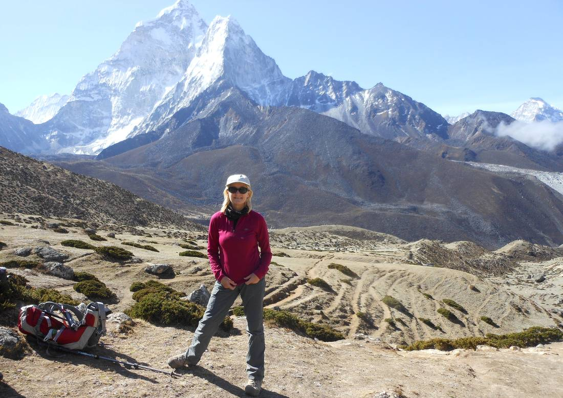 Admiring the Himalayan mountains towering over while on trek |  <i>Pamela Lynch</i>
