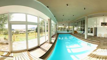 Swimming pool in hotel in Les Estables, Auvergne, France