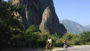 Cyclists appraoching the site of Meteora