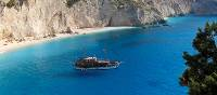 Boat anchored off shore, Ionian Islands, Greece