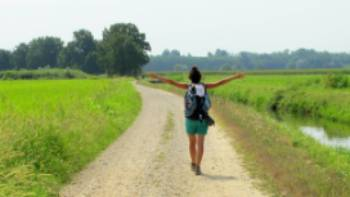 Hiking along the Via Francigena on the way to Pavia