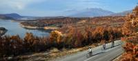 Cycling along Debar Lake, Macedonia