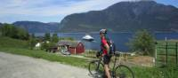 Cyclist on the Hardanger Fjord, Norway