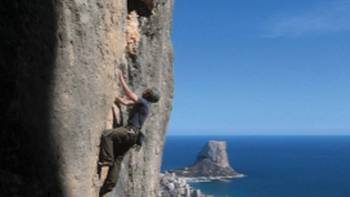 Rock climbing with views of the Mediterranean coastline