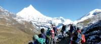 Trekkers stopping to admire the views towards Jichu Drake | Gavin Turner