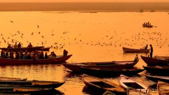 Beautiful sunset over the River Ganges