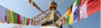 Prayer flags hang from the Boudhanath stupa in Kathmandu |  <i>Ayla Rowe</i>