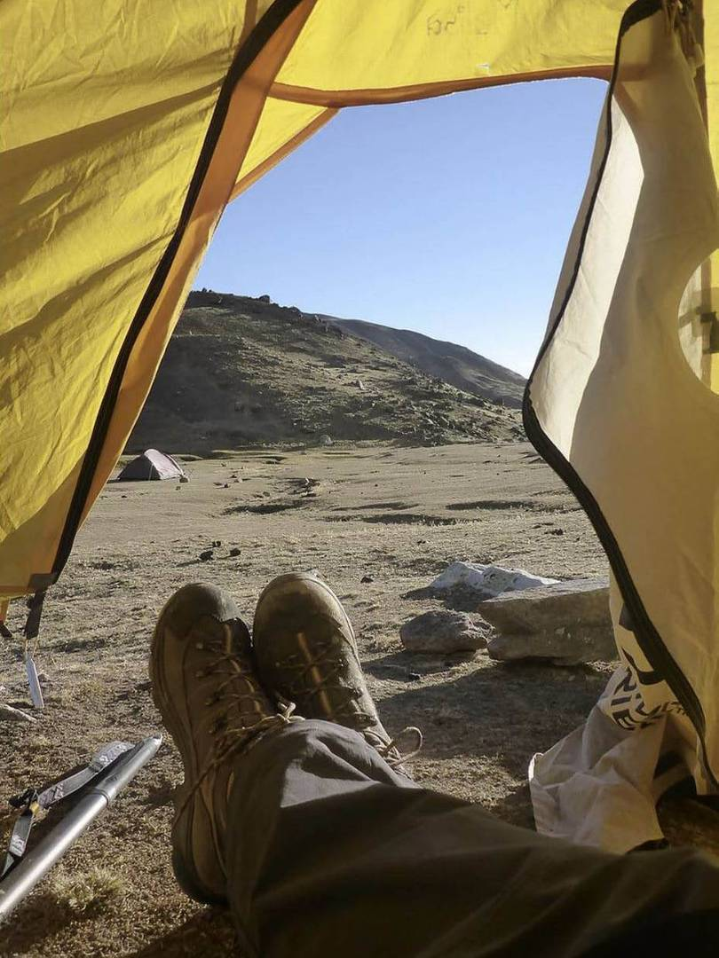 Tent views from our camp in Illimani |  <i>Anthony Bohm</i>