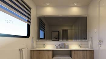 Bathroom views in the Suite Cabin aboard Solaris