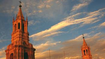 A cathedral in Arequipa at sunset