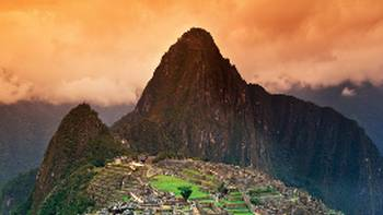 The lost Incan city of Machu Picchu in Peru